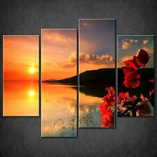 RED CALM SUNSET SPLIT CANVAS WALL ART PICTURES PRINTS LARGER SIZES AVAILABLE