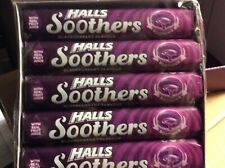 HALLS SOOTHERS WITH REAL JUICE. 5 PACKS.  BLACKCURRANT