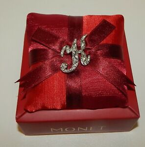 Monet K Initial Rhinestone Pin Brooch with Red Satin Sachet in Gift Box! NOS
