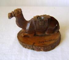"""Antique Carved Olive Wood Camel Inkwell inscribed """"Jerusalem"""" missing Lid"""