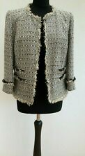 Boden Beige Tweed Frayed Boucle Fantasy Blazer Jacket UK14 42 US10