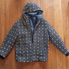 Vintage 60s Black Welsh Tapestry Mod Geo Wool Zip Bomber Hooded Coat Jacket S-M