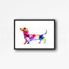 Rainbow Dachshund Sausage Dog Watercolour Painting PRINT 7x5 Wall Art