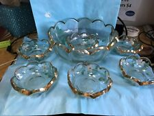 New listing Large Hand Painted Serving Bowl With Six Matching Berry Bowls-ch