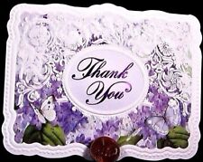 CAROL'S ROSE GARDEN Purple Butterflies *EMBOSSED* Thank You Small Note Card NEW