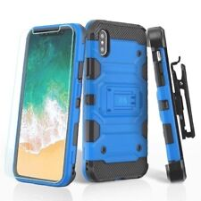 IPHONE X 10 XS HYBRID TPU 3 LAYER CASE HOLSTER TEMPERED GLASS USA SELLER