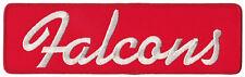 "ATLANTA FALCONS NFL FOOTBALL 10"" SCRIPT TEAM PATCH RED BACKGROUND"