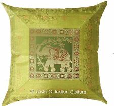 "Large Elephant Green 24"" Cushion Cover Handmade Brocade Floor Pillow Throw Decor"