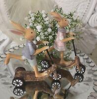 Vintage 2er Set  Osterhase auf Roller  Hase Ostern Shabby Chic Deko Landhaus