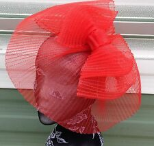 bright red crin fascinator headband headpiece wedding party piece race ascot