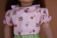 Doll Clothes fitting 18 in & American Girl Doll Pink Sewing Print Cotton Blouse