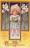 Easter Postcard Little Girl Holding Basket Colored Eggs Lily Flowers~126369