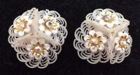 Vintage Coro Magic Designer Earrings White Aurora Borealis Stones Costume 1537F