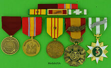 U.S. NAVY VIETNAM 5 MEDALS and MOUNTED 5 RIBBON BAR  - USN