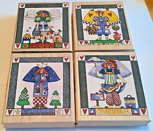 Inkadinkado Alma Lynne Designs Seasons Gardener Angel Rubber Stamps Lot of 4
