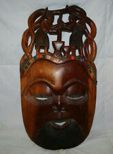 """25"""" African Tribal Wooden Carved Mask Wall Hanging"""