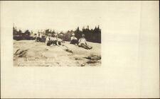 New London NH Camp Westamon Campers on Mt. Kearsarge c1915 RPPC