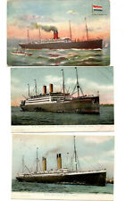 THREE OLD SHIP POSTCARDS - FROM 1907 AND 1908