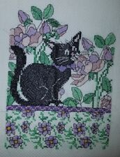 Lilac Floral Cat Handcrafted/Completed Cross Stitch Picture