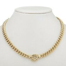 18K Yellow Gold GL Womens Solid Medium Euro Necklace & Life Buoy Bolt Ring 55cm