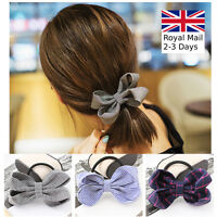 Handmade Women Girls Bow Hair Band Bobbles Elastic Stretch Pony Hair Accessories