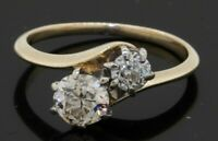 Vintage 14K gold 1.10CTW VS diamond 2-stone wedding/engagement ring w/ .70CT ctr