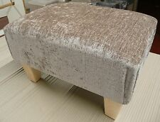 FOOTSTOOLS / POUFFES IN MINK CHENILLE FABRIC WITH SQUARE TAPERED WOODEN LEGS