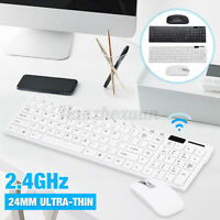 Slim 2.4GHz Wireless Keyboard & Mouse Sets Full Size FOR USB PC Laptop