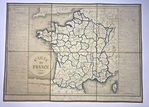FRANCE MANUSCRIPT MAP 1867 ANTIQUE FOLDING MAP ON LINEN