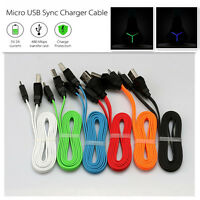 Flat Noodle Light Up LED Vision Micro USB Sync Data Charger Cable For Samsung