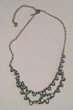Lovely silver tone metal chain necklace with pretty blue stone design 34 -42 cms