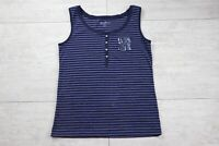 Women's Eddie Bauer Tank Top Striped Sleeveless Shirt - Size Large L - Blue