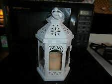 "small 10"" white hexagon lantern with candle"