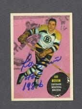 Leo Boivin signed Boston Bruins 1961-62 Topps hockey card