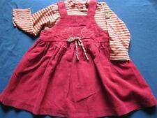 Babymini Par Catamini Dress 86 cm 24 M Flowers Knit Stripe Layered Red Yellow