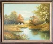 Vintage Painting Country House Stream Trees On Canvas Framed Signed Hansen