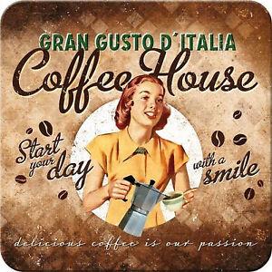 Nostalgic Art dessous de Verre Métalliques Coffee Maison Gran Gusto Italia 9 x 9