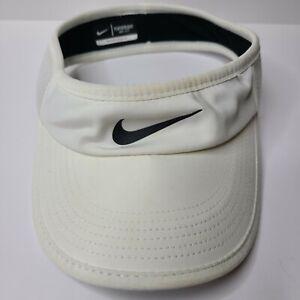 Nike Dri-Fit Featherlight Men's Visor Hat 1/2 Mesh White Black Golf Athletic