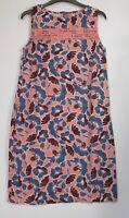 Next Coral Peach Floral  linen Blend Summer Holiday Shift Dress - Size 8 - 22