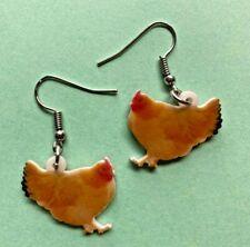 Fun Earrings Yellow Chicken Hen