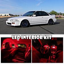 90-93 Acura Honda Integra DA DB RED LED Interior Bulb Light Full Package Kit 6pc