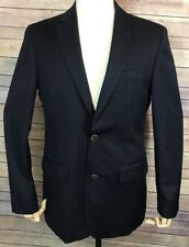 JOSEPH FEISS Gold Blazer Men's 38R Classic Fit Black 100% Wool 2 Button