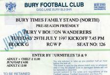 Ticket - Bury v Bolton Wanderers 29.07.97 Pre-Season Friendly