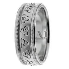 Celtic Trinity Knot Wedding Ring 10K Gold 8mm Wide Milgrain Mens Wedding Band