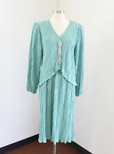 Vtg 90s Teal Green Crinkle Embellished Dress Size 11 12 Cocktail Party Retro