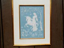 Lady & Unicorn Franklin Mint George McMonigle Plaque Parian Tile Blue White