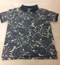 Lands End Boys Blue Polo Shirt 8-9 Years Botanical Short Sleeve Cotton Collar