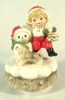 Vtg 1979 Schmid Christmas Holiday Rotating MUSIC BOX Plays Jingle Bells Snowman