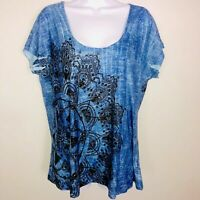 Energe World Wear Womens Top sz 1X Blue Scoop Neck Short Sleeve Studded AD33