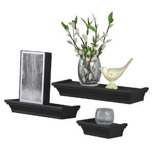Wood Floating Shelves Set of 3 Black Easily Happy Mounts Different Shelf Sizes